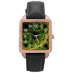 Abstract Circles Yellow Black Rose Gold Leather Watch