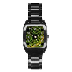 Abstract Circles Yellow Black Stainless Steel Barrel Watch