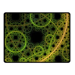 Abstract Circles Yellow Black Double Sided Fleece Blanket (small)