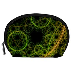 Abstract Circles Yellow Black Accessory Pouches (large)
