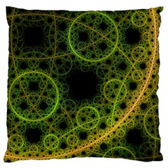 Abstract Circles Yellow Black Large Flano Cushion Case (two Sides)
