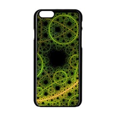 Abstract Circles Yellow Black Apple Iphone 6/6s Black Enamel Case