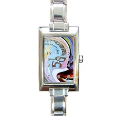 Abstract Currency Background Rectangle Italian Charm Watch