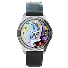 Abstract Currency Background Round Metal Watch