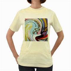 Abstract Currency Background Women s Yellow T Shirt