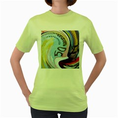 Abstract Currency Background Women s Green T-Shirt