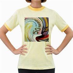 Abstract Currency Background Women s Fitted Ringer T Shirts