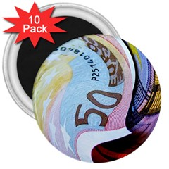 Abstract Currency Background 3  Magnets (10 Pack)