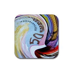 Abstract Currency Background Rubber Square Coaster (4 Pack)