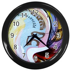 Abstract Currency Background Wall Clocks (black)