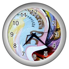 Abstract Currency Background Wall Clocks (silver)