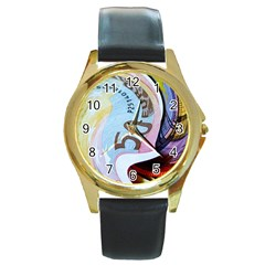 Abstract Currency Background Round Gold Metal Watch