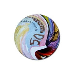 Abstract Currency Background Rubber Round Coaster (4 Pack)