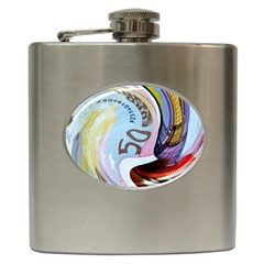 Abstract Currency Background Hip Flask (6 Oz)