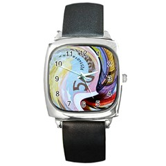Abstract Currency Background Square Metal Watch