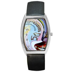 Abstract Currency Background Barrel Style Metal Watch