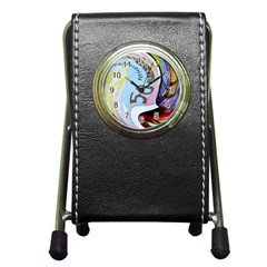 Abstract Currency Background Pen Holder Desk Clocks