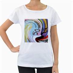Abstract Currency Background Women s Loose Fit T Shirt (white)