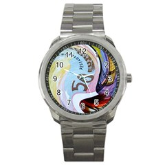 Abstract Currency Background Sport Metal Watch