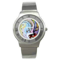Abstract Currency Background Stainless Steel Watch