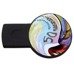 Abstract Currency Background USB Flash Drive Round (4 GB) Front