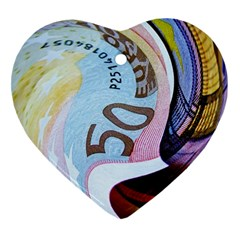 Abstract Currency Background Heart Ornament (two Sides)