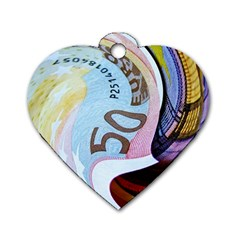 Abstract Currency Background Dog Tag Heart (two Sides)