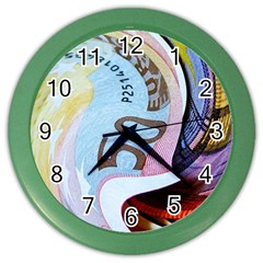 Abstract Currency Background Color Wall Clocks