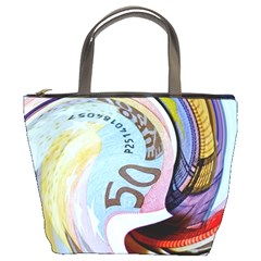 Abstract Currency Background Bucket Bags