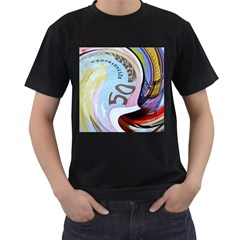 Abstract Currency Background Men s T Shirt (black)