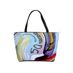 Abstract Currency Background Shoulder Handbags