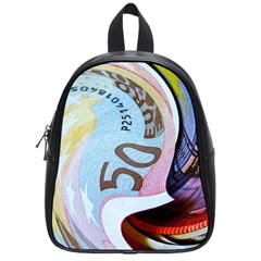Abstract Currency Background School Bags (small)