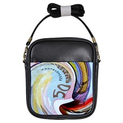 Abstract Currency Background Girls Sling Bags