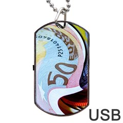 Abstract Currency Background Dog Tag Usb Flash (one Side)