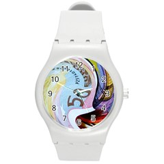 Abstract Currency Background Round Plastic Sport Watch (m)
