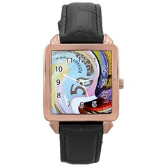 Abstract Currency Background Rose Gold Leather Watch