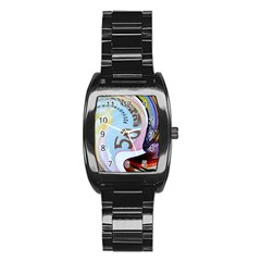 Abstract Currency Background Stainless Steel Barrel Watch