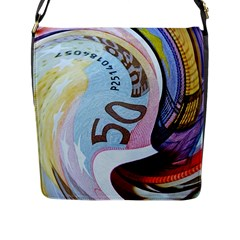 Abstract Currency Background Flap Messenger Bag (l)