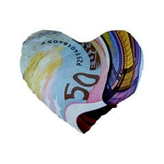 Abstract Currency Background Standard 16  Premium Flano Heart Shape Cushions