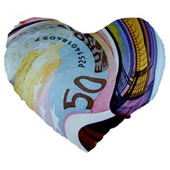 Abstract Currency Background Large 19  Premium Flano Heart Shape Cushions