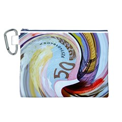 Abstract Currency Background Canvas Cosmetic Bag (l)