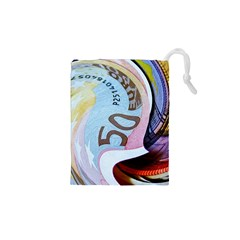 Abstract Currency Background Drawstring Pouches (xs)