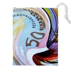 Abstract Currency Background Drawstring Pouches (xxl)