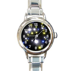 Abstract Dark Spheres Psy Trance Round Italian Charm Watch