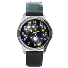 Abstract Dark Spheres Psy Trance Round Metal Watch