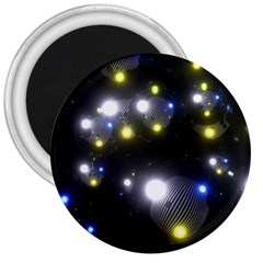 Abstract Dark Spheres Psy Trance 3  Magnets