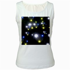 Abstract Dark Spheres Psy Trance Women s White Tank Top