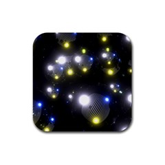 Abstract Dark Spheres Psy Trance Rubber Square Coaster (4 Pack)
