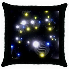 Abstract Dark Spheres Psy Trance Throw Pillow Case (black)
