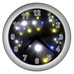 Abstract Dark Spheres Psy Trance Wall Clocks (silver)